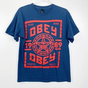 OBEY Blue Red 1989 Star Graphic Tee M